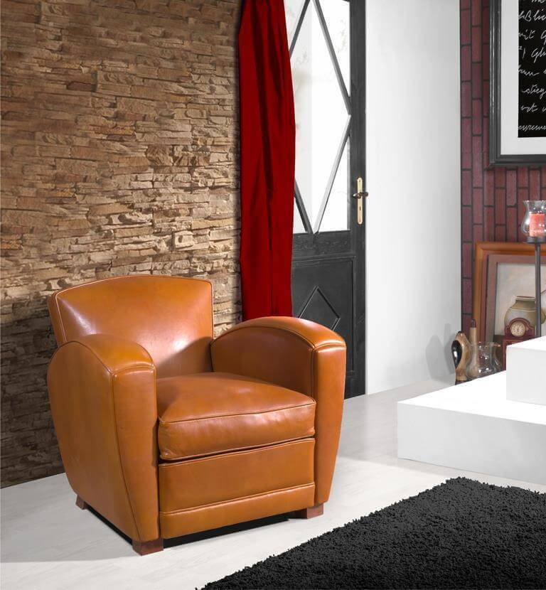 fauteuil club cuir marron s lection d cor actuel paris. Black Bedroom Furniture Sets. Home Design Ideas